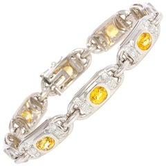 Ella Gafter Yellow Sapphire Diamond Flexible Tennis Bracelet