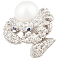 Ella Gafter Cancer Pearl Diamond Zodiac Ring