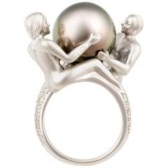 Ella Gafter Zodiac Gemini Ring with Tahitian Pearl and Diamonds