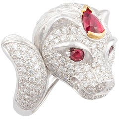 Ella Gafter Zodiac Leo Ring with Ruby and Diamonds
