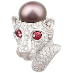 Ella Gafter Zodiac Leo Ring with Tahitian Pearl and Diamonds