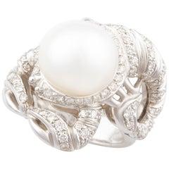 Ella Gafter Zodiac Scorpio Ring with Diamonds and South Sea Pearl