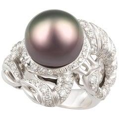 Ella Gafter Zodiac Scorpio Ring with Diamonds and Tahitian Pearl
