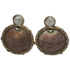 Ella K Mother of Pearl and Swarovski Clip Earrings
