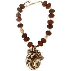 Ella K Shell, Coin Pearl, and Wood Bead One of a Kind Necklace