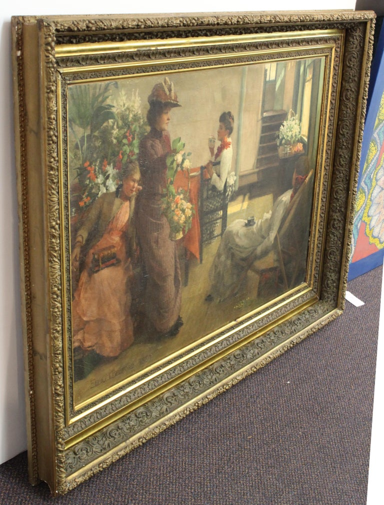 Ella M. Bedford 'Afternoon Tea' British Victorian Oil Painting For Sale 4