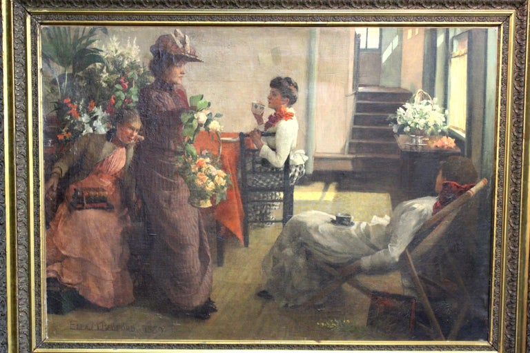 British Victorian oil on canvas painting by Ella M. Bedford (? - 1908), titled 'Afternoon Tea' and depicting ladies lounging in an interior, having tea among flower arrangements. Bedford rose to prominence as one of a handful female painters