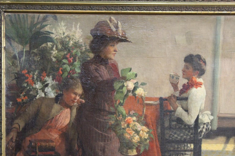 Hand-Painted Ella M. Bedford 'Afternoon Tea' British Victorian Oil Painting For Sale