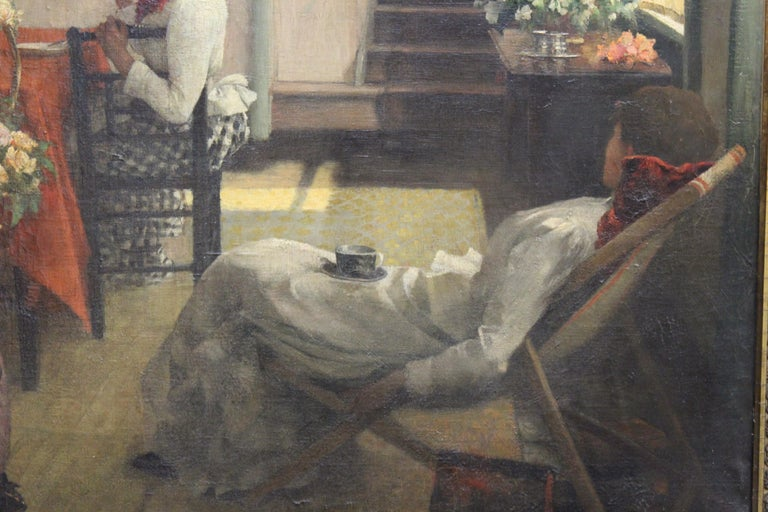 Ella M. Bedford 'Afternoon Tea' British Victorian Oil Painting In Good Condition For Sale In New York, NY