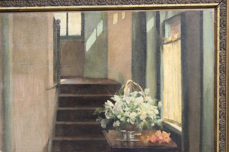 Late 19th Century Ella M. Bedford 'Afternoon Tea' British Victorian Oil Painting For Sale
