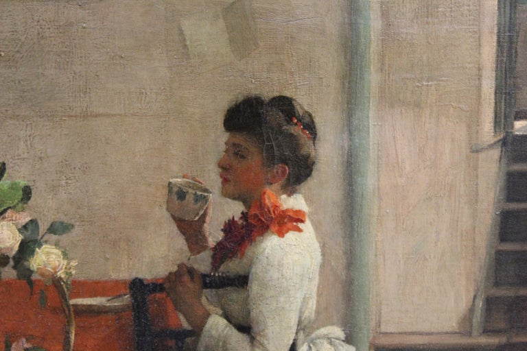 Ella M. Bedford 'Afternoon Tea' British Victorian Oil Painting For Sale 1