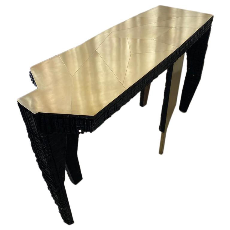 Ella, Sculptural Contemporary Brass and Wood Console For Sale