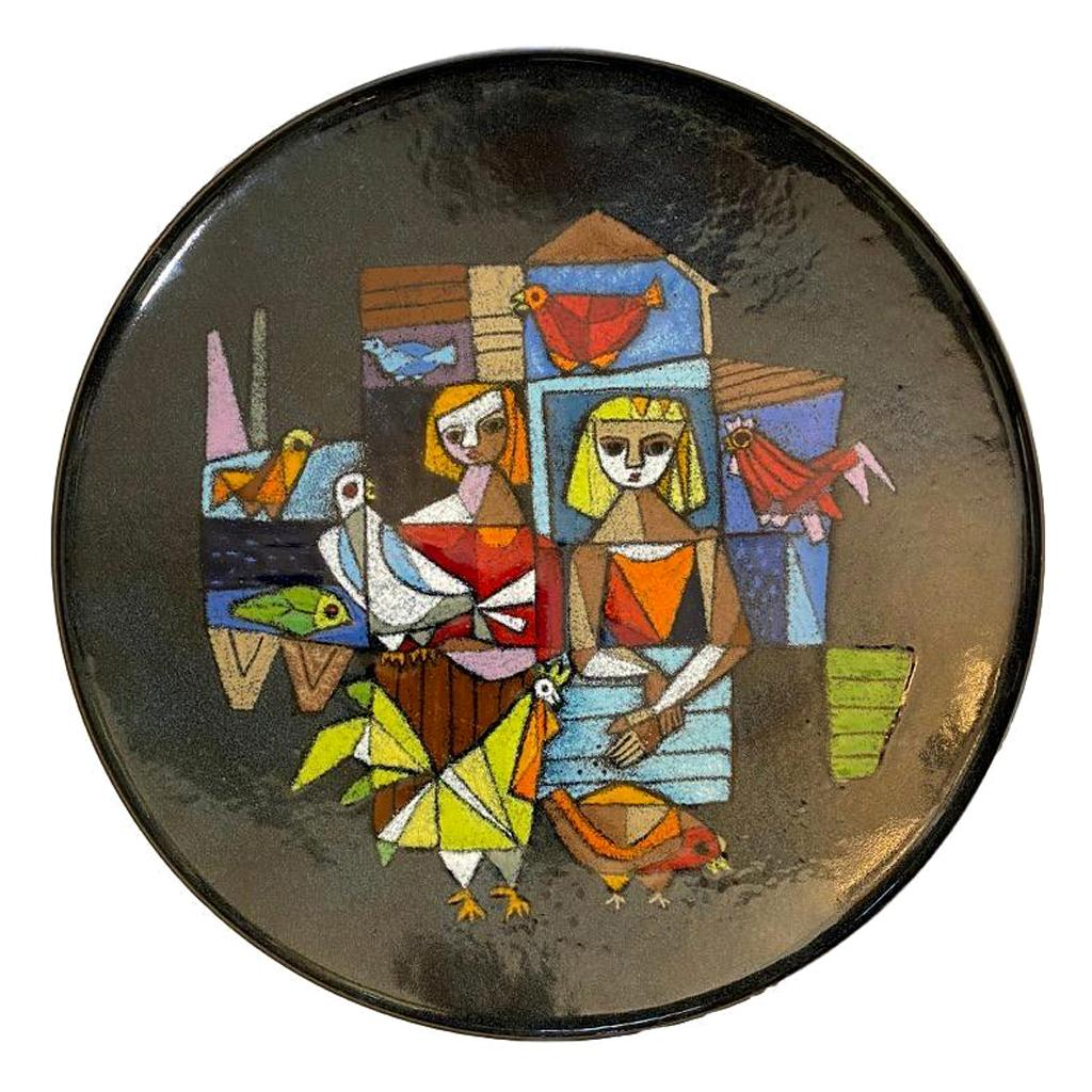 Ellamarie and Jackson Wooley Enamel Plate, Bowl, Fire Painting, Signed