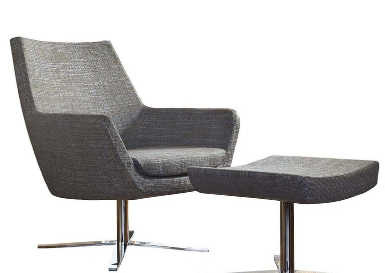 Italian Elle Gray Swivel Armchair with Pouf For Sale