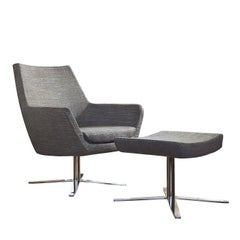 Elle Gray Swivel Armchair with Pouf