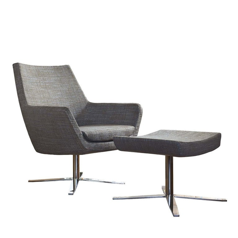 Elle Gray Swivel Armchair with Pouf For Sale