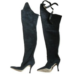 Elle Macpherson Manolo Blahnik Suede Boots