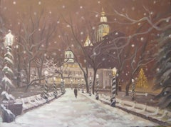 December Snow, City Hall, Painting, Oil on Canvas