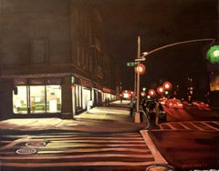 Nocturne, 13th St and 7th Ave, Painting, Oil on Canvas