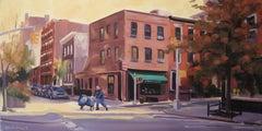 October Sun, Corner Bistro, Painting, Oil on Canvas