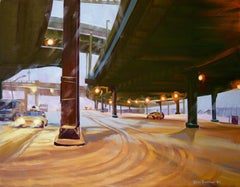 South Street Snowstorm, Under the Viaduct, Painting, Oil on Canvas