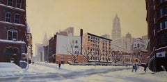 Still of Winter, West Broadway & Chambers St, Painting, Oil on Canvas