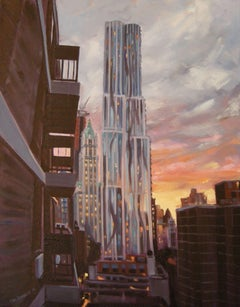 Sunset, Gehry and Woolworth Bldgs, Painting, Oil on Canvas