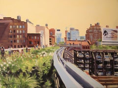 Walking the High Line in June, Painting, Oil on Canvas