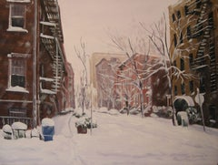 Winter, Greenwich & Horatio St, Painting, Oil on Canvas