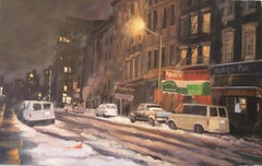 Winter Night, Murray St, Painting, Oil on Canvas