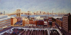 Winter View over South Street Seaport, Painting, Oil on Canvas