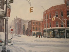 Winter, West 4th, Jane St, 8th Ave, Painting, Oil on Canvas