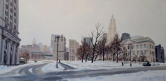 Winter's Stillness, Centre & Chambers St, Painting, Oil on Canvas