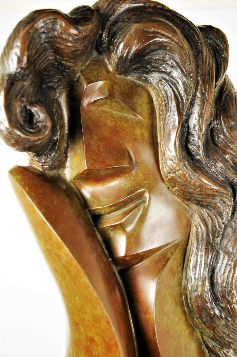 Patinated Ellen Brenner-Sorensen, Double-Sided Female Head, Ltd. Ed. Bronze Sculpture 1992 For Sale
