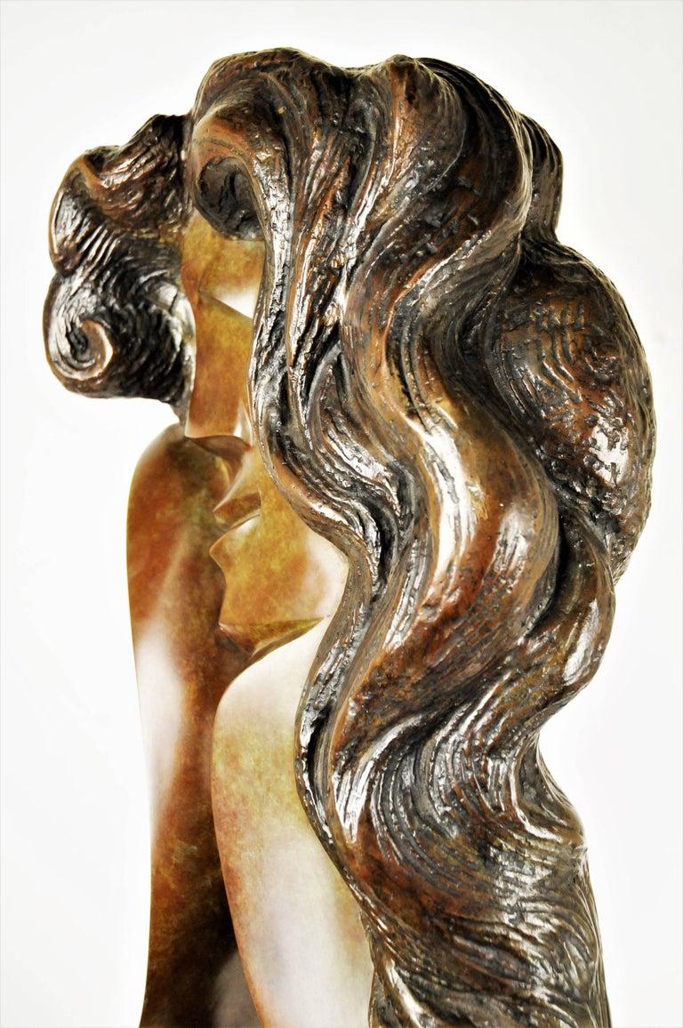 Ellen Brenner-Sorensen, Double-Sided Female Head, Ltd. Ed. Bronze Sculpture 1992 In Good Condition For Sale In New York, NY