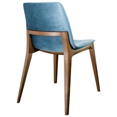 Ellen Chair in Ash and Blue Leather by Studio Tecnico Pacini & Cappellini