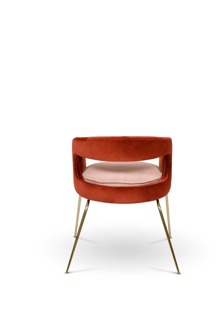 Ellen Dining Chair in Rust and Powder Pink by Essential Home In New Condition For Sale In New York, NY