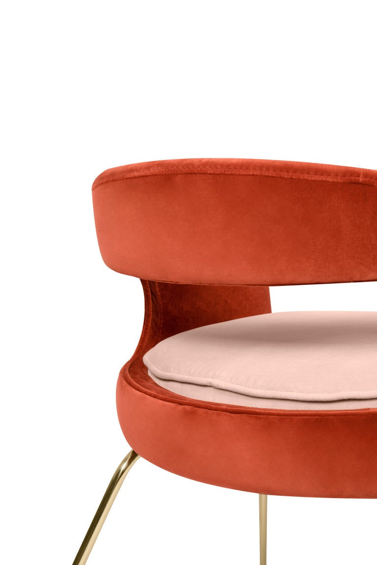 Contemporary Ellen Dining Chair in Rust and Powder Pink by Essential Home For Sale