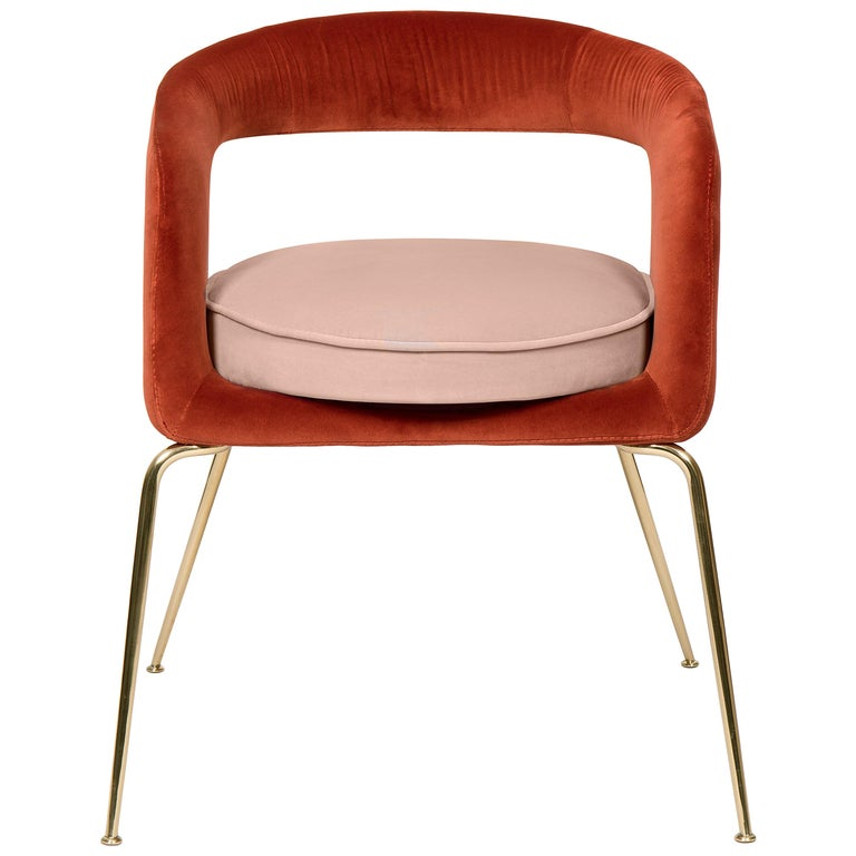 Ellen Dining Chair in Rust and Powder Pink by Essential Home For Sale
