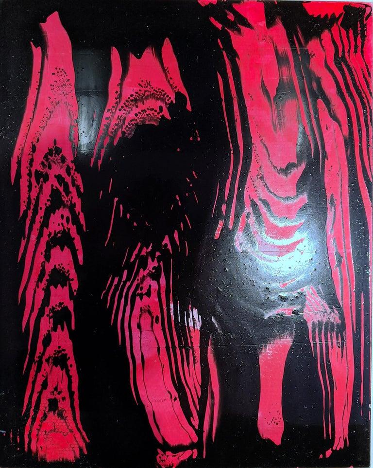 Ellen Hackl Fagan, Red Oil Slick, 2012, ink, acrylic, enamel, clayboard panel - Color-Field Painting by Ellen Hackl Fagan