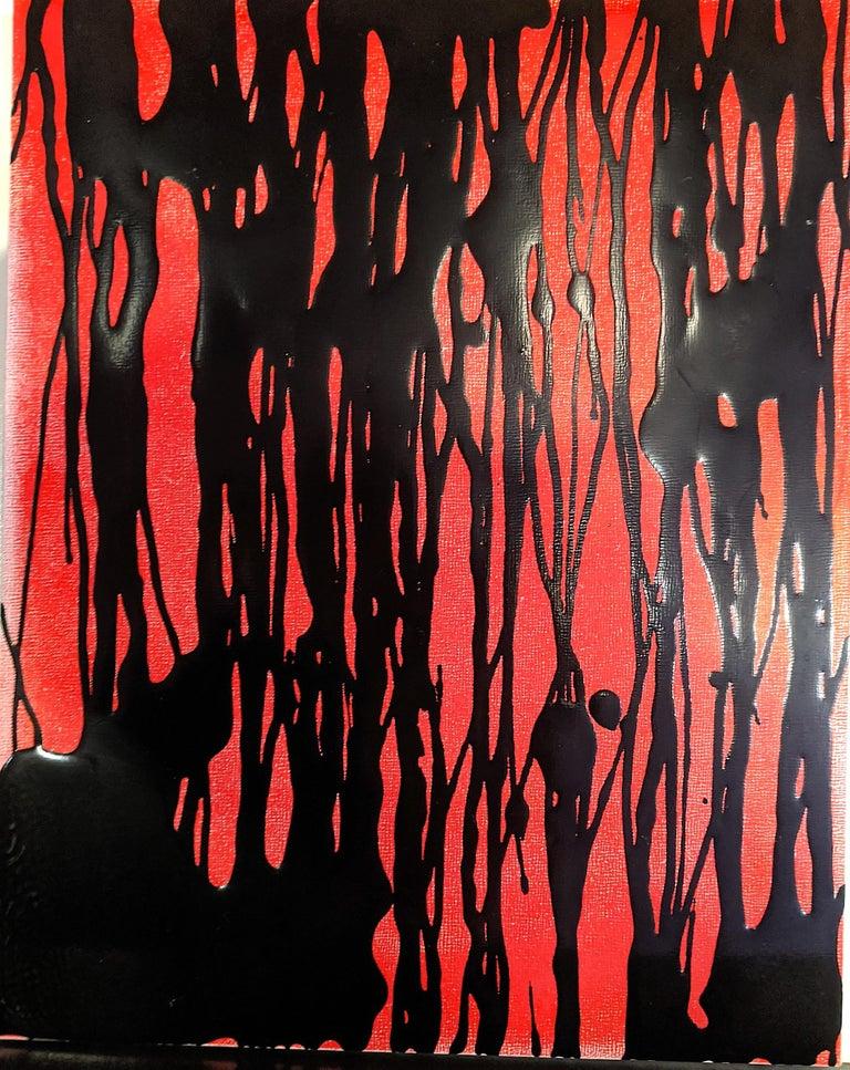 Ellen Hackl Fagan, Red Oil Slick, 2012, ink, acrylic, enamel, clayboard panel - Painting by Ellen Hackl Fagan