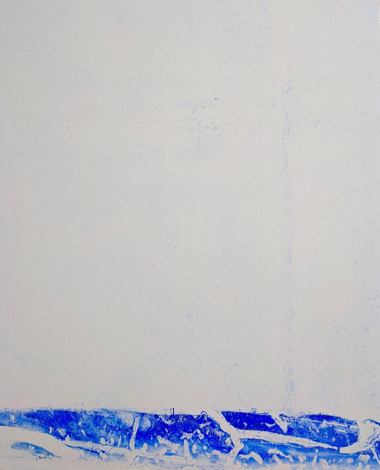 Seeking the Sound of Cobalt Blue is a series of larger paintings on 8 ply museum board and large sheets of rag paper and clayboard panels that have been created since the winter of 2016.   Using domestic construction materials from her garage,