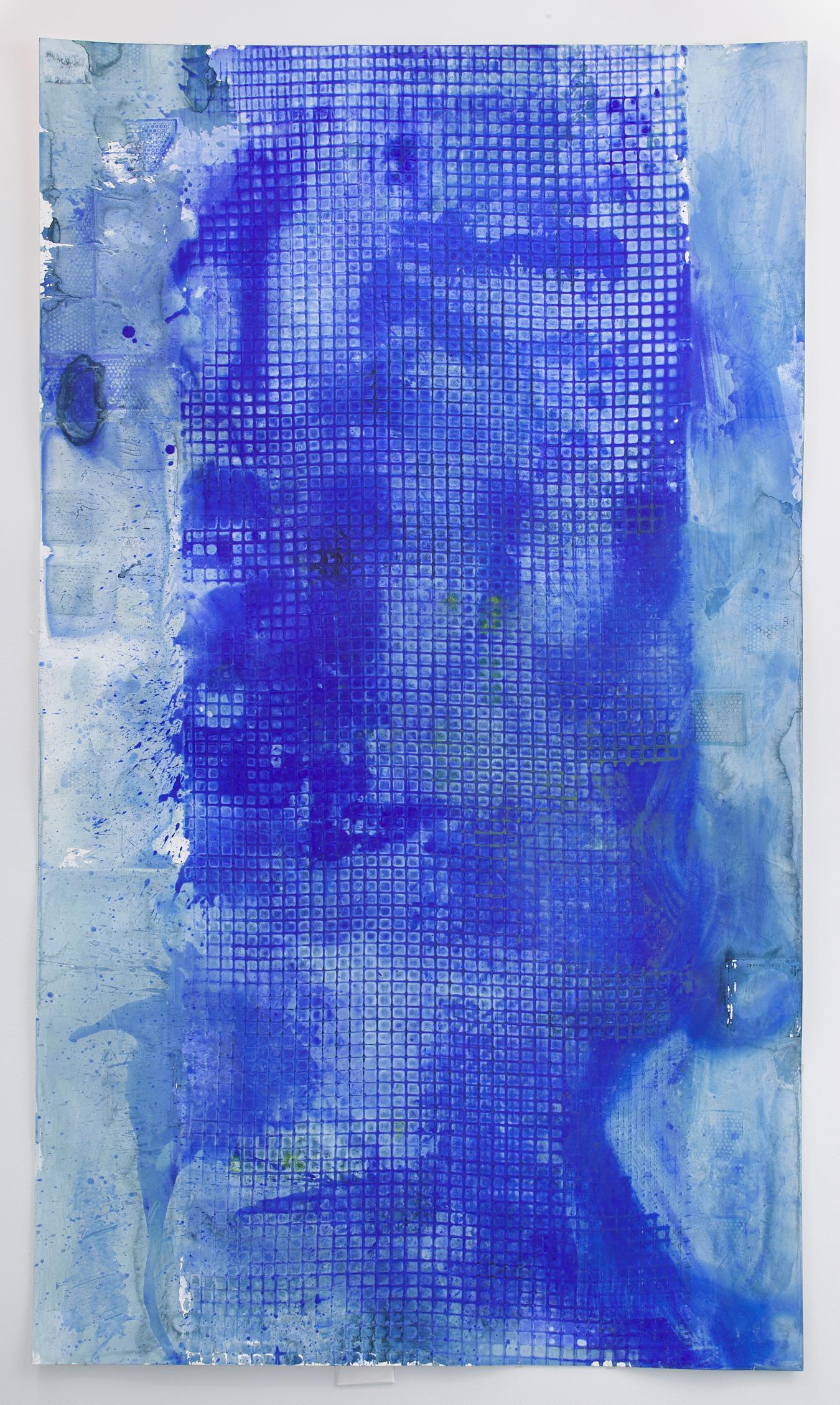 Ellen Hackl Fagan, Seeking the Sound of Cobalt Blue_Fence, 2017, Blue Abstract