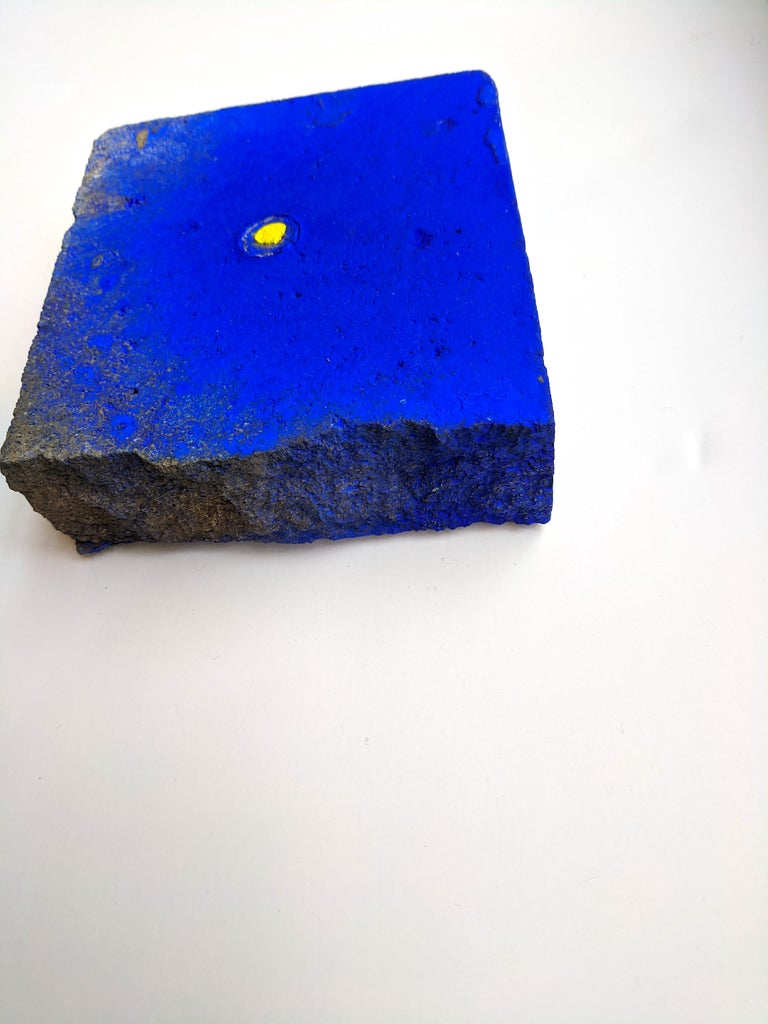 Ellen Hackl Fagan_Seeking the Sound of Cobalt Blue_Paver 1_2020_found object - Arte Povera Painting by Ellen Hackl Fagan