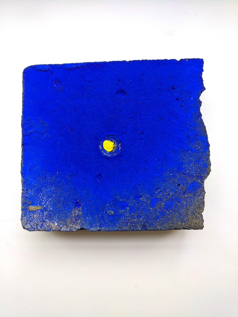 Ellen Hackl Fagan_Seeking the Sound of Cobalt Blue_Paver 1_2020_found object - Painting by Ellen Hackl Fagan