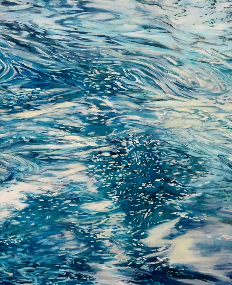 Constant Current , oil and acrylic painting,  Abstract Expressionism Style.Water - Painting by Ellen Hart
