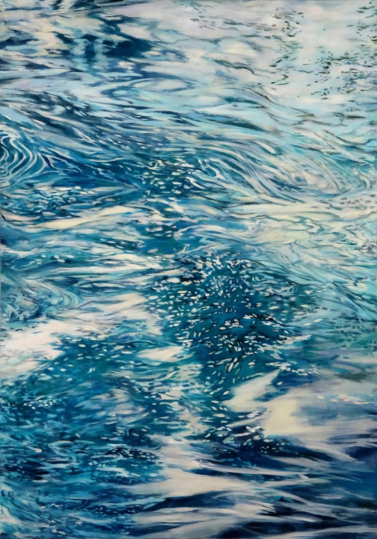 Ellen Hart Abstract Painting - Constant Current , oil and acrylic painting,  Abstract Expressionism Style.Water