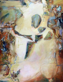 Golden Tide ,oil & acrylic painting, Abstract Expressionism  Women in Art
