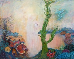 Light at the Bottom, oil & acrylic painting, in the style of Abstract Landscape