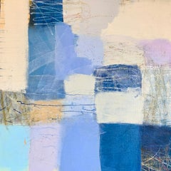 Daybreak, geometric abstract painting on canvas, shades of blue, beige